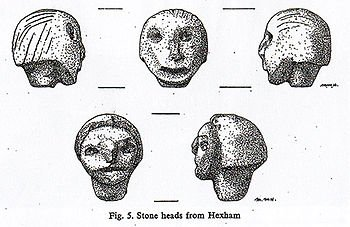 Drawings of the Hexham Heads by Mary Hurrell of the Museum of Antiquities.