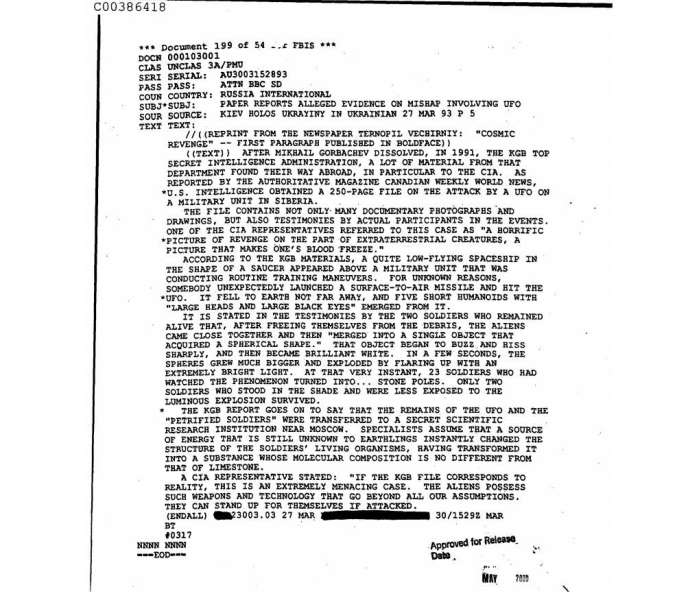 CIA report on alien attack on Soviet soldiers