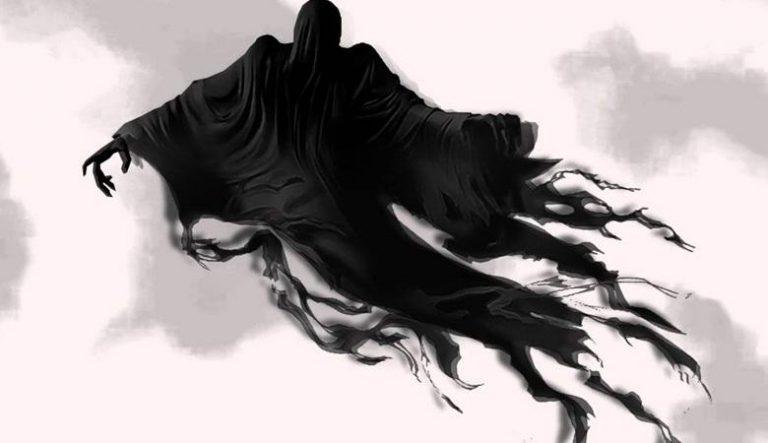 Flying black being