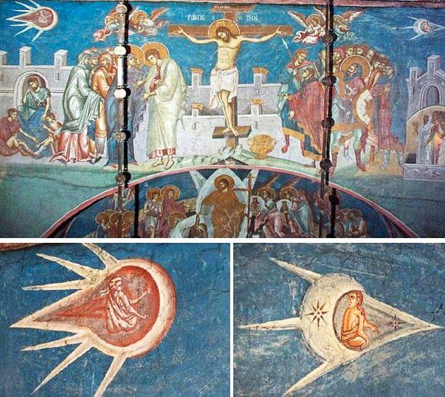 Detail from The Crucifixion Visoki Decani Monestary in Kosovo Yugoslavia