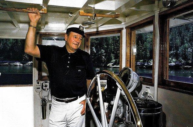 John Wayne aboard Wild Goose 1971