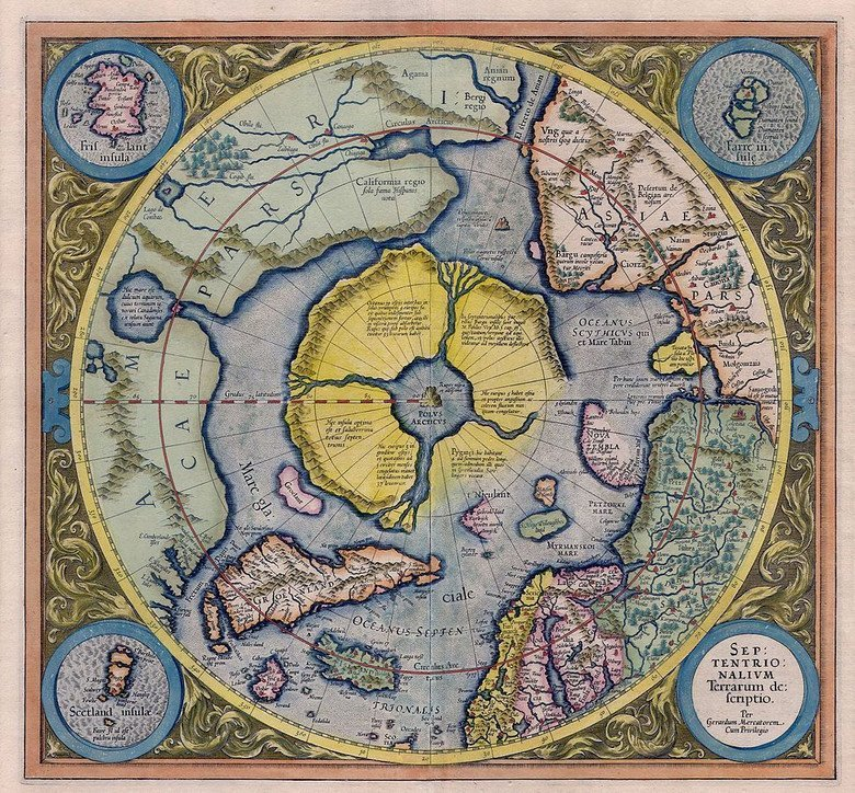 Mercator map with Frisland and Hyperborea